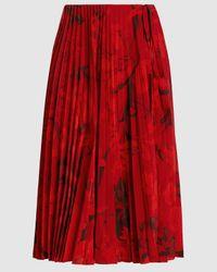 Valentino Pleated Floral Print Midi Skirt - Red