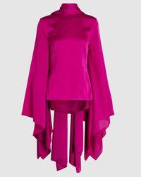 Solace London Ali Tie Neck Draped Sleeve Satin Top - Purple