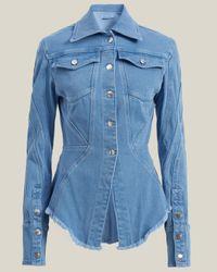 Mugler Curved Seams Peplum Denim Jacket - Blue