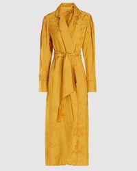 Johanna Ortiz Satin-jacquard Kimono Robe - Yellow