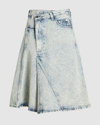 Proenza Schouler Acid Wash Asymmetrical Denim Midi Skirt - Blue