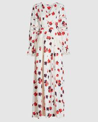 Self-Portrait Floral Print Crepe De Chine Maxi Dress - Multicolor
