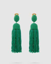 Oscar de la Renta Short Beaded Silk Tassel Earrings - Green