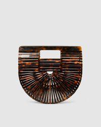 Cult Gaia Acrylic Ark Mini Clutch - Brown