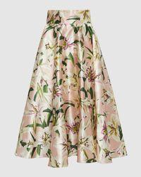 Dolce & Gabbana Lilium Print Silk Shantung Skirt - Pink