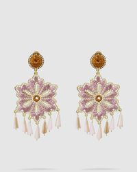 Mercedes Salazar Hibiscus Gold-tone And Crystal Earrings - Purple