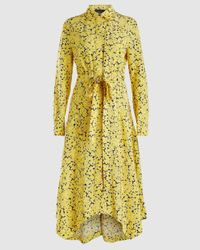 Cedric Charlier Floral Print Belted Shirt Dress - Yellow