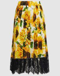 Dolce & Gabbana Sunflower Print Lace Hem Silk Skirt - Yellow