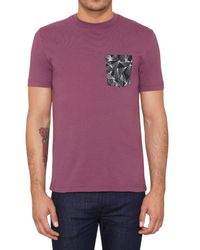 Original Penguin Purple Print Pocket T-shirt for men