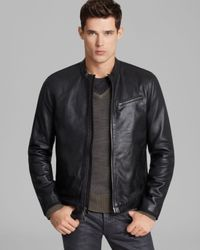 John Varvatos Black Usa Denimstyle Leather Jacket for men