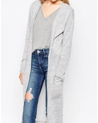Vila Gray Long Lined Cardigan With Front Pockets