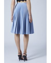 TOPSHOP Pu Pleated Midi Skirt  Grey Blue