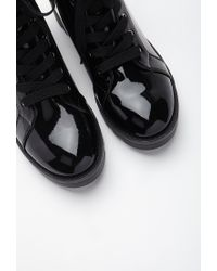 Forever 21 - Black Patent Faux Leather Combat Boots You've Been Added To The Waitlist - Lyst