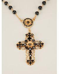 Dolce & Gabbana - Metallic Crucifix Brayer Bead Necklace - Lyst