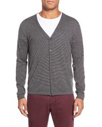 Zachary Prell | Gray 'blackfriars' Wool Blend Stripe Cardigan for Men | Lyst