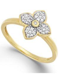 Macy's | Metallic Diamond Flower Ring In 10K Gold (1/8 Ct. T.W.) | Lyst