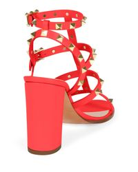 Valentino - Red Rockstud Leather Sandals - Lyst