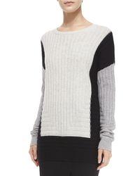 Vince   Black Colorblock Crewneck Sweater   Lyst