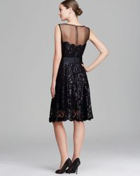 Tadashi Shoji - Black Dress Sleeveless Illusion Neckline Sequin Lace Belted - Lyst