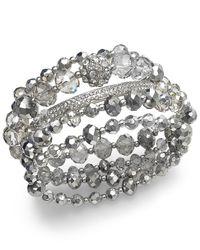 INC International Concepts - Metallic Silver-tone Bead Stretch Bracelet - Lyst