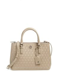 Tory Burch Gray 'robinson - Mini' Perforated Leather Double Zip Tote