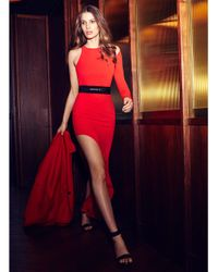 Halston Red One-Shoulder Crepe Gown