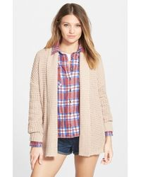 Billabong - Brown Open Front Knit Cardigan - Lyst