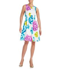 Calvin Klein - Multicolor Pleated Fit-and-flare Dress - Lyst