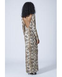 TOPSHOP Brown Scoop Back Snake Print Maxi Dress By Rare