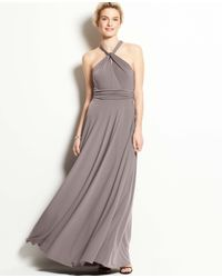 Ann Taylor   Gray Jersey Keyhole Halter Gown   Lyst