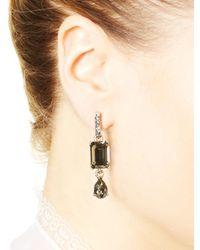 Oscar de la Renta - Metallic Crystal Golden Shadow Octagon & Pear Drop Earrings - Lyst