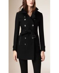 Burberry Black Short Double Wool Twill Trench Coat
