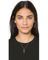 EF Collection Metallic Vertical Diamond Bar Necklace - Gold/clear