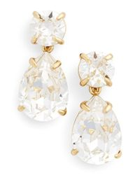 kate spade new york | Metallic Crystal Drop Earrings - Clear | Lyst