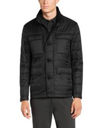 BOSS Black Quilted Jacket With Down And Feather Filling: 'calson' for men