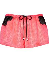 River Island - Orange Bright Coral Jacquard Lace Pyjama Shorts Bright Coral Jacquard Lace Pyjama Cami Top - Lyst