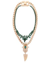 Mawi Green Layered Crystal Deco Necklace