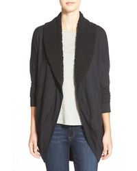 Splendid - Black Faux Shearling Open Cardigan - Lyst