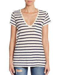 James Perse White Striped V-neck Cotton & Cashmere Jersey Tee