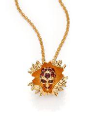 Alexander McQueen Metallic Skull Chestnut Pendant Necklace