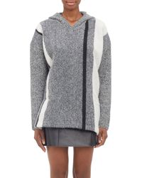 T By Alexander Wang Gray Striped Hooded Sweater