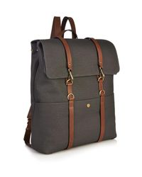 Mismo Gray Leather-Strap Backpack for men