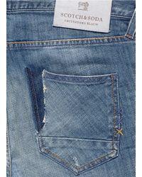 Scotch & Soda Blue 'lot 22 The Skim' Bleach Wash Jeans for men