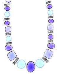 Jones New York | Purple Silver-tone Blue Stone Collar Necklace | Lyst