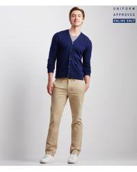 Aéropostale | Blue Solid Knit Uniform Cardigan | Lyst