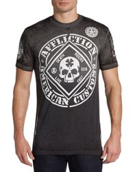 Affliction - Gray Feelin Lucky Cotton-Blend Tee for Men - Lyst