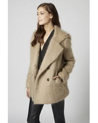 TOPSHOP Natural Fluffy Hooded Pea Coat