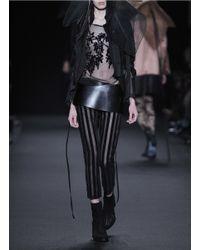 Ann Demeulemeester Black Floral Flock Velvet Tulle Jacket