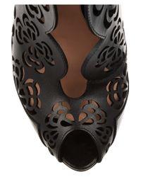 Alexander McQueen Black Laser-cut Leather Sandals