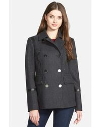 MICHAEL Michael Kors Gray Faux Leather Trim Wool Blend Peacoat
